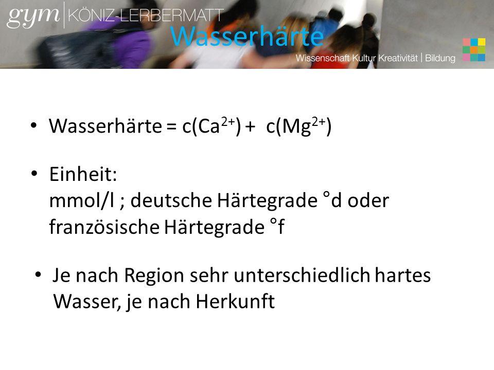 Wasserhärte Wasserhärte = c(Ca 2+ ) + c(Mg 2+ ) Einheit: mmol/l ; deutsche Härtegrade °d oder französische Härtegrade °f Je nach Region sehr unterschi