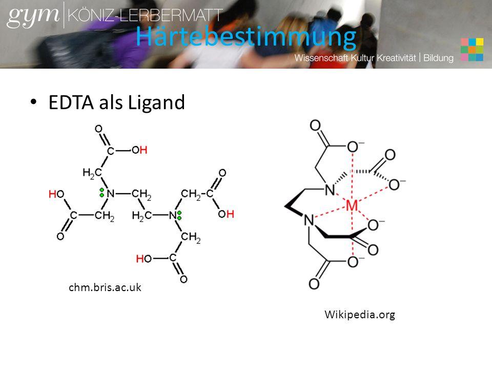 Härtebestimmung EDTA als Ligand Wikipedia.org chm.bris.ac.uk