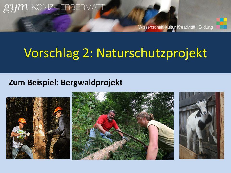 Vorschlag 2: Naturschutzprojekt Zum Beispiel: Bergwaldprojekt