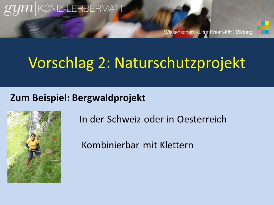 Vorschlag 2: Naturschutzprojekt Zum Beispiel: Bergwaldprojekt In der Schweiz oder in Oesterreich Kombinierbar mit Klettern