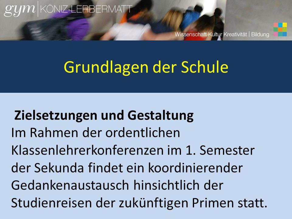 Grundlagen der Schule Zielsetzungen und Gestaltung Im Rahmen der ordentlichen Klassenlehrerkonferenzen im 1. Semester der Sekunda findet ein koordinie