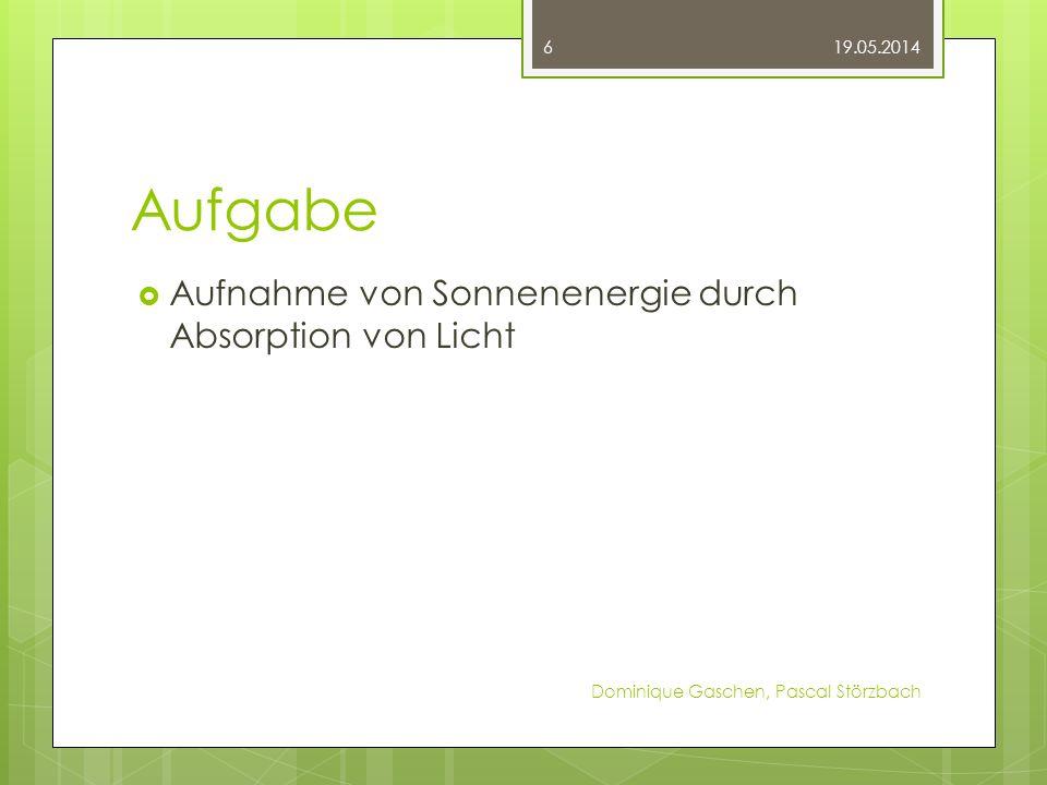 Aufgabe Aufnahme von Sonnenenergie durch Absorption von Licht 19.05.2014 Dominique Gaschen, Pascal Störzbach 6