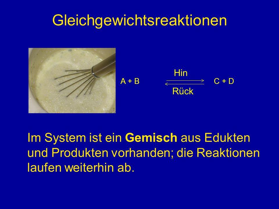 Massenwirkungsgesetz, Gleichgewichtskonstante K = Produkt der Konzentrationen der Produkte Produkt der Konzentrationen der Edukte Koeffizienten in Reaktionsgleichung als Potenz