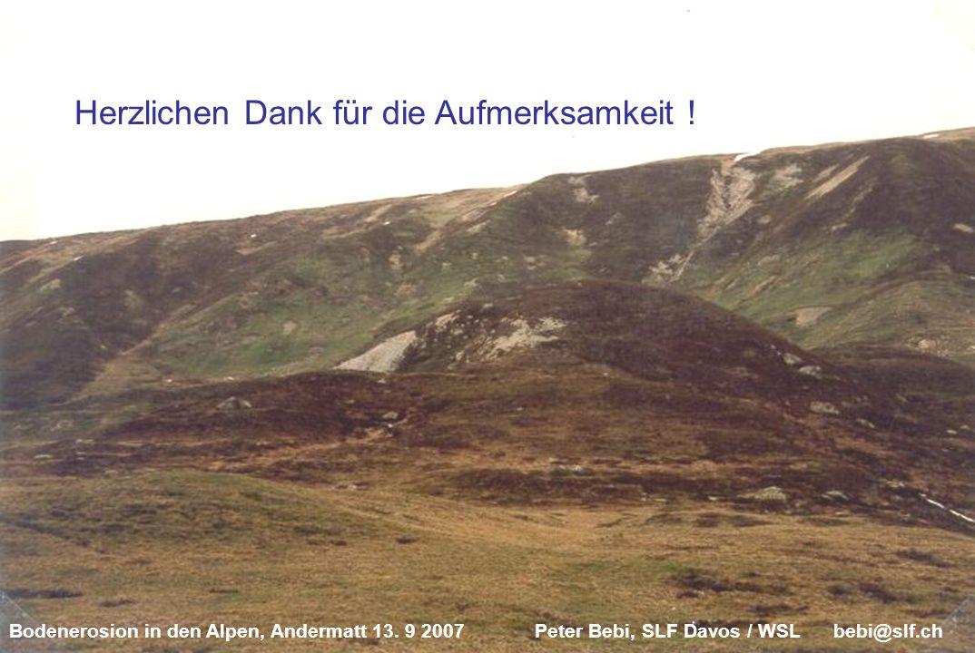 Bodenerosion in den Alpen, Andermatt 13. 9 2007 Peter Bebi, SLF Davos / WSL bebi@slf.ch Herzlichen Dank für die Aufmerksamkeit !