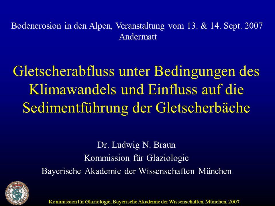 Kommission für Glaziologie, Bayerische Akademie der Wissenschaften, München, 2007 Gletscherabfluss unter Bedingungen des Klimawandels und Einfluss auf die Sedimentführung der Gletscherbäche Dr.