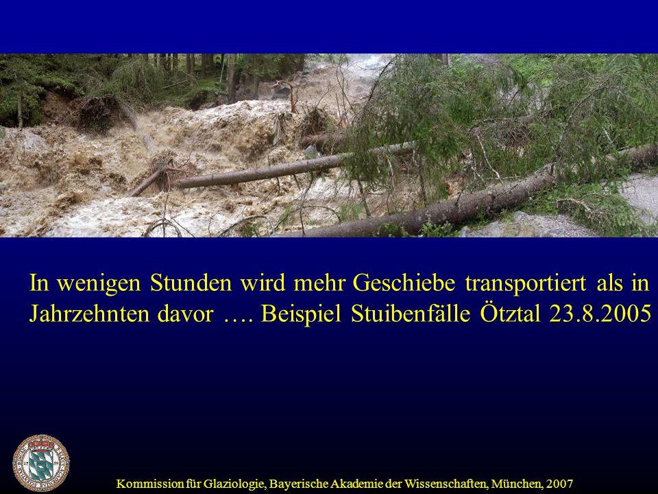 Kommission für Glaziologie, Bayerische Akademie der Wissenschaften, München, 2007 In wenigen Stunden wird mehr Geschiebe transportiert als in Jahrzehnten davor ….