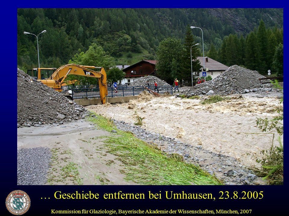 Kommission für Glaziologie, Bayerische Akademie der Wissenschaften, München, 2007 … Geschiebe entfernen bei Umhausen, 23.8.2005