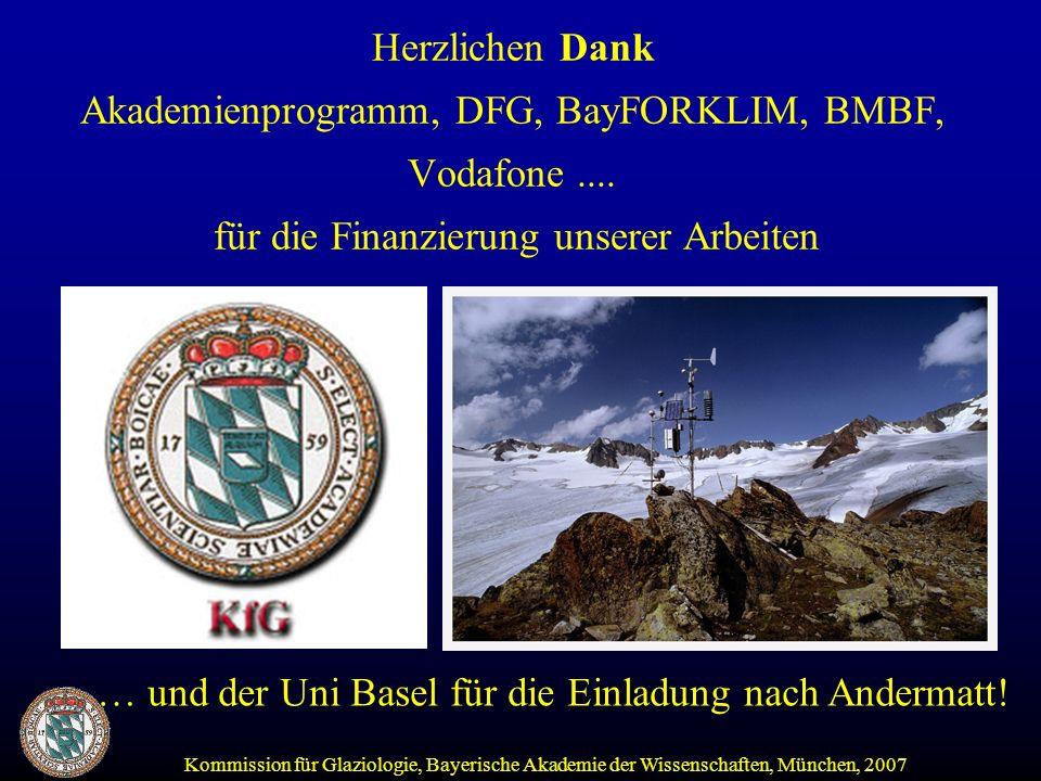 Kommission für Glaziologie, Bayerische Akademie der Wissenschaften, München, 2007 Herzlichen Dank Akademienprogramm, DFG, BayFORKLIM, BMBF, Vodafone....