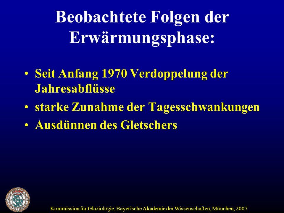 Kommission für Glaziologie, Bayerische Akademie der Wissenschaften, München, 2007 Fazit: Wetterextreme werden mit einer fortschreitenden Klimaerwärmung zunehmen, damit auch die Gefahr von Hochwasser Gletscher werden in 100 Jahren bis auf wenige Reste verschwunden sein Mit dem Verschwinden der Gletscher ist das Sparkonto der Wasserspende aufgebraucht Damit ist in Trockenjahren weniger Wasser für das Umland der Alpen verfügbar Beeinträchtigung der Energieproduktion (Kühlung von Kernkraftwerken!) und Trinkwasserversorgung