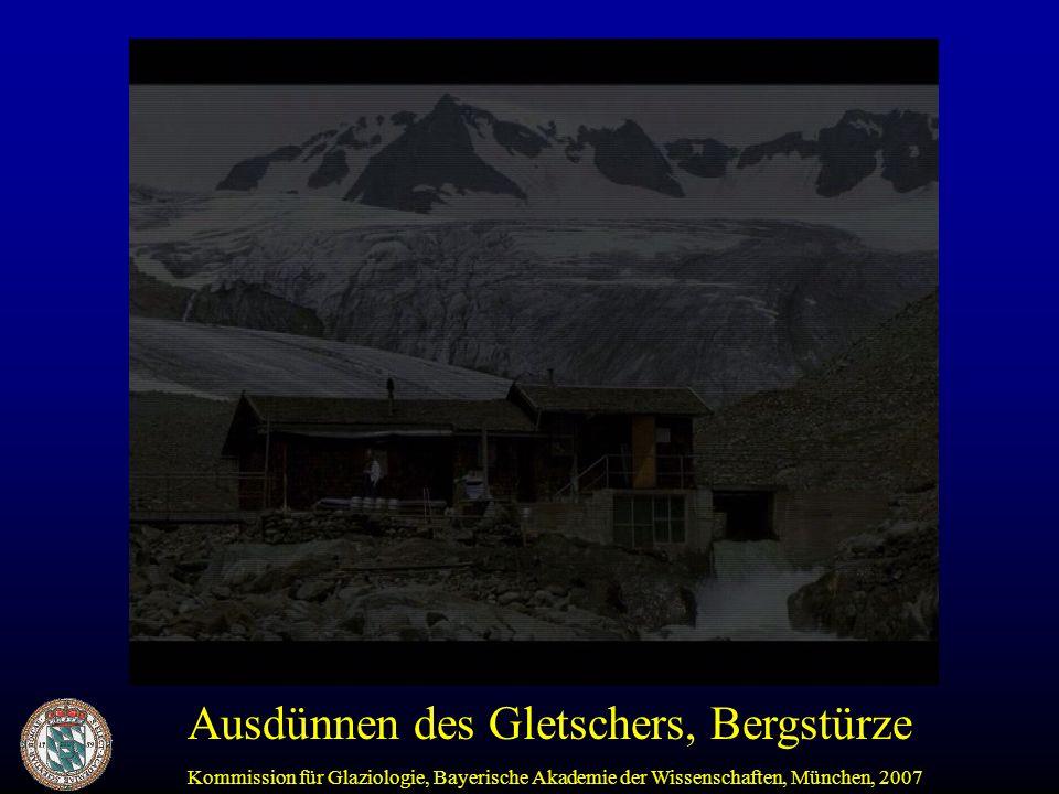 Kommission für Glaziologie, Bayerische Akademie der Wissenschaften, München, 2007 Fazit: Schwebstoff-Fracht ist gegenüber den 1970iger und frühen 1980iger Jahren heute im Vernagtgebiet 5 - 10 Mal höher.