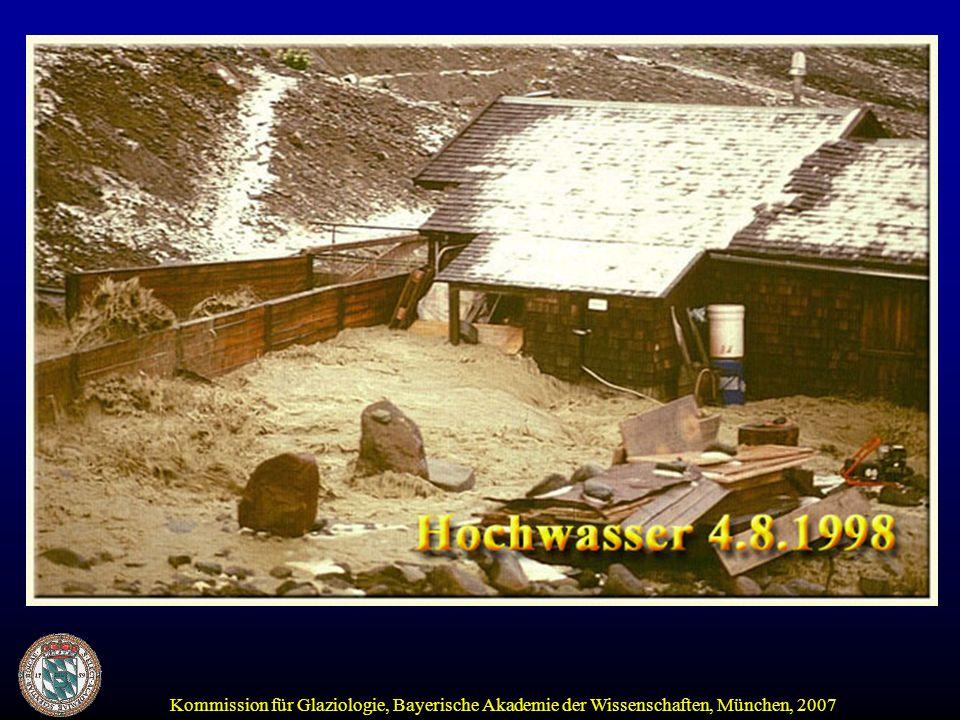 Kommission für Glaziologie, Bayerische Akademie der Wissenschaften, München, 2007 Die Alpen empfangen mehr Niederschlag als das Umland In höheren Lagen erfolgt Zwischenspeicherung in Form von Schnee und Eis: Schnee: Giro-Konto Gletscher: Spar-Konto