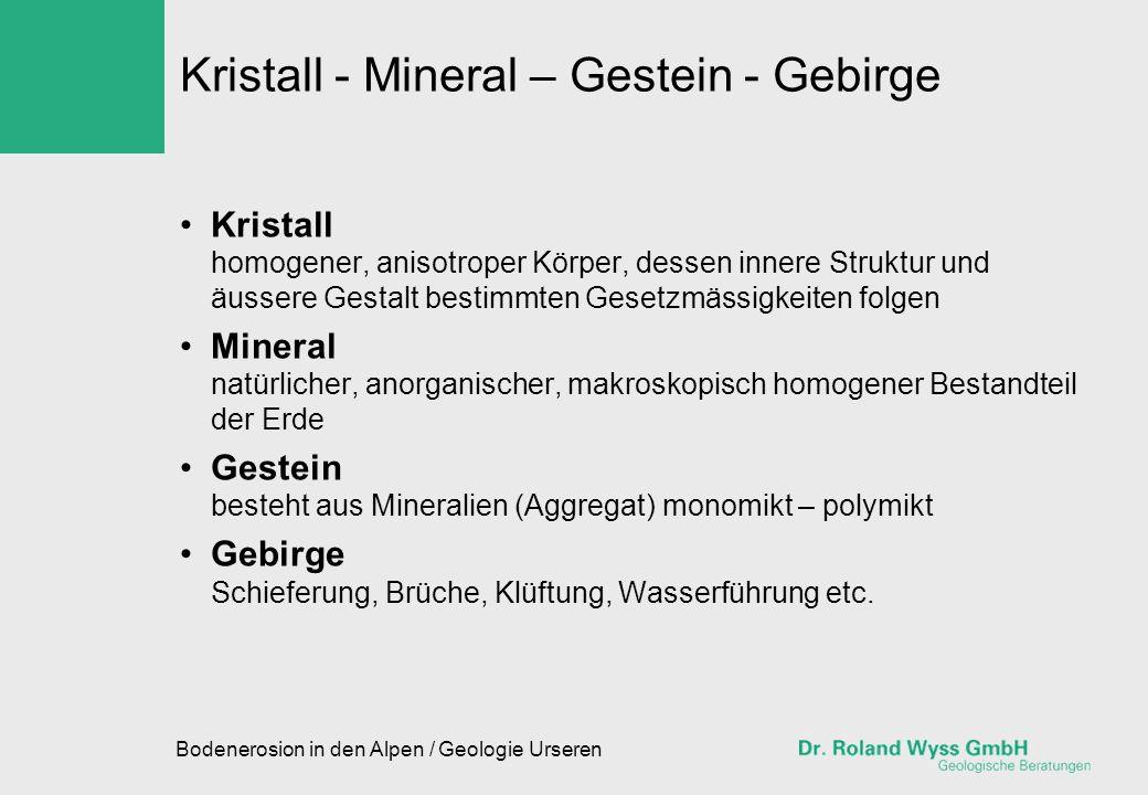 Bodenerosion in den Alpen / Geologie Urseren Kristall - Mineral – Gestein - Gebirge Kristall homogener, anisotroper Körper, dessen innere Struktur und