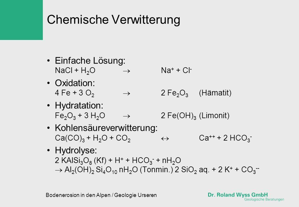 Bodenerosion in den Alpen / Geologie Urseren Chemische Verwitterung Einfache Lösung: NaCl + H 2 O Na + + Cl - Oxidation: 4 Fe + 3 O 2 2 Fe 2 O 3 (Häma