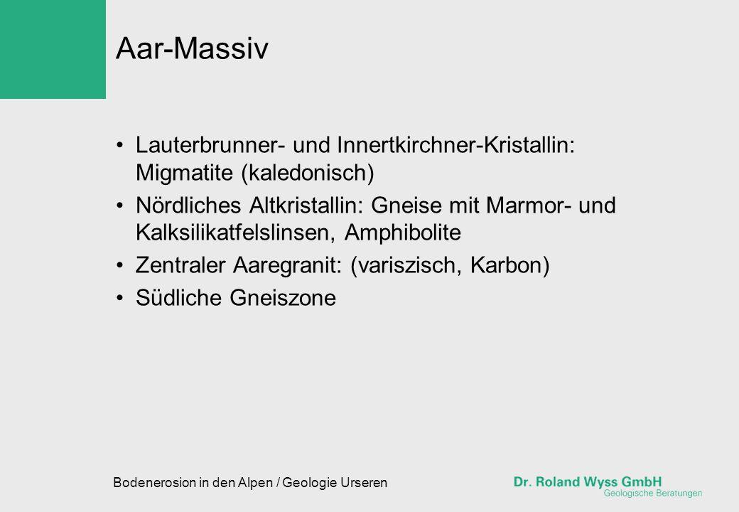 Bodenerosion in den Alpen / Geologie Urseren Gotthard-Massiv Nördliche Paragneiszone: Glimmerschiefer mit vielfältigen Einlagerungen von Kalksilikatfels, Serpentinit, Amphibolit, Gabbro etc.