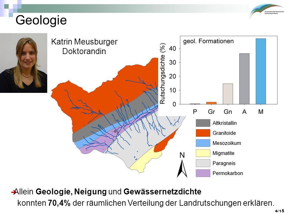 4/15 Geologie Katrin Meusburger Doktorandin Allein Geologie, Neigung und Gewässernetzdichte konnten 70,4% der räumlichen Verteilung der Landrutschunge
