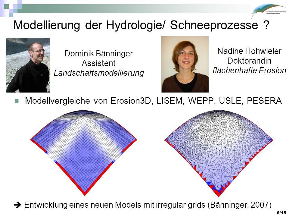 9/15 Modellierung der Hydrologie/ Schneeprozesse ? Modellvergleiche von Erosion3D, LISEM, WEPP, USLE, PESERA Entwicklung eines neuen Models mit irregu