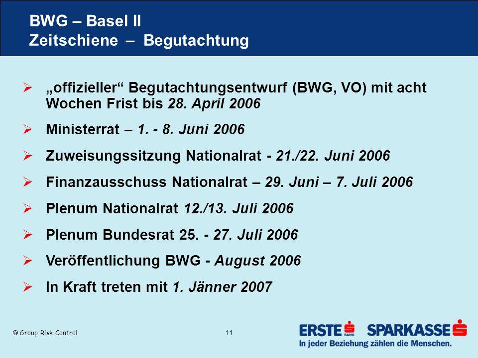 Group Risk Control 11 BWG – Basel II Zeitschiene – Begutachtung offizieller Begutachtungsentwurf (BWG, VO) mit acht Wochen Frist bis 28. April 2006 Mi