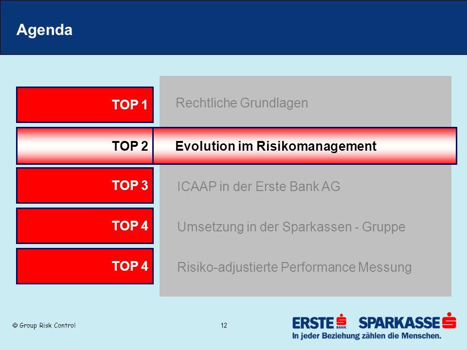 Group Risk Control 12 Agenda TOP 2 Evolution im Risikomanagement TOP 3 ICAAP in der Erste Bank AG TOP 1 Rechtliche Grundlagen TOP 4 Umsetzung in der S