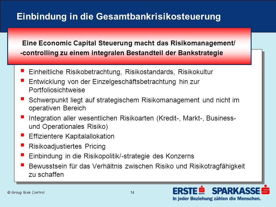 Group Risk Control 14 Einbindung in die Gesamtbankrisikosteuerung Eine Economic Capital Steuerung macht das Risikomanagement/ -controlling zu einem in