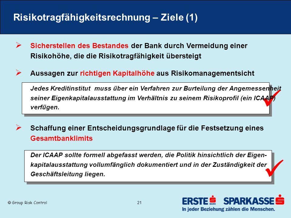 Group Risk Control 21 Risikotragfähigkeitsrechnung – Ziele (1) Sicherstellen des Bestandes der Bank durch Vermeidung einer Risikohöhe, die die Risikot