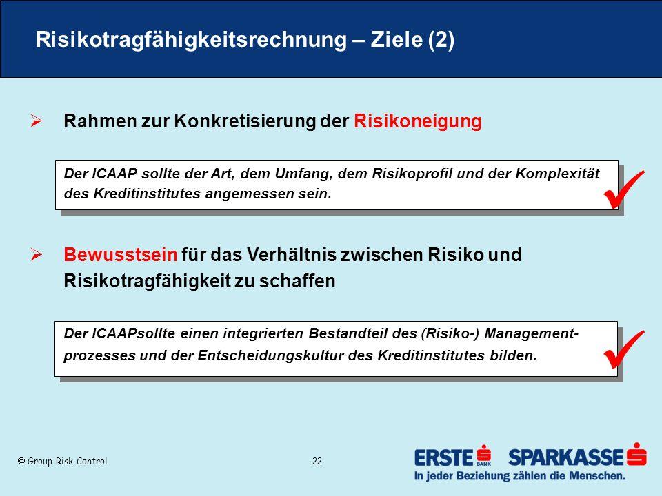 Group Risk Control 22 Risikotragfähigkeitsrechnung – Ziele (2) Rahmen zur Konkretisierung der Risikoneigung Der ICAAP sollte der Art, dem Umfang, dem