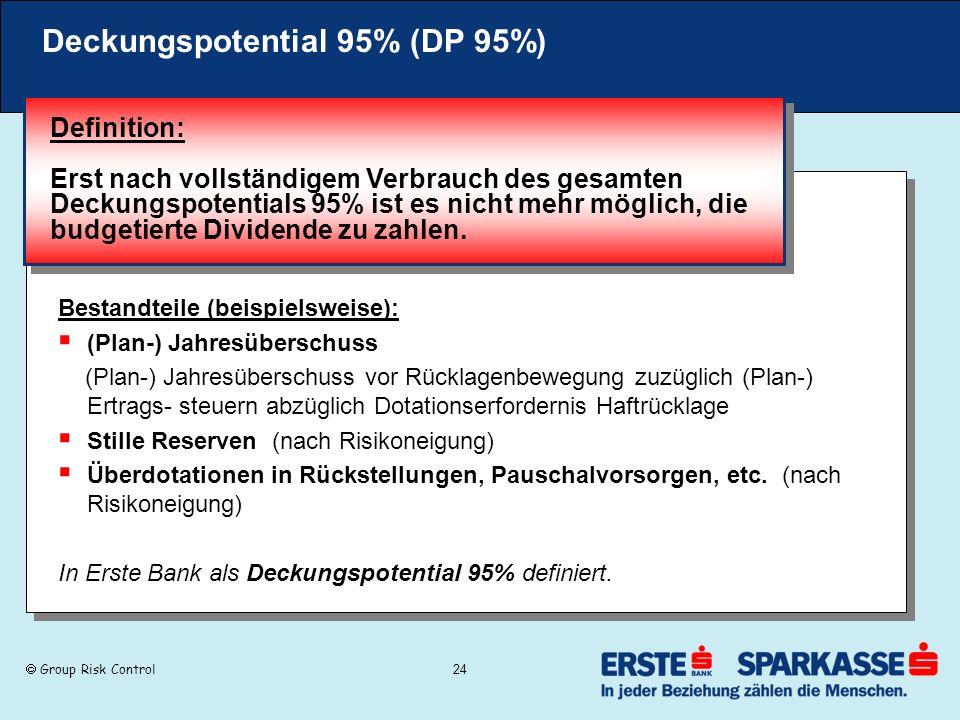 Group Risk Control 24 Deckungspotential 95% (DP 95%) Bestandteile (beispielsweise): (Plan-) Jahresüberschuss (Plan-) Jahresüberschuss vor Rücklagenbew