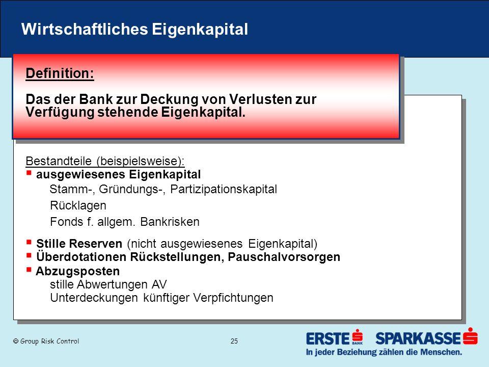 Group Risk Control 25 Wirtschaftliches Eigenkapital Definition: Das der Bank zur Deckung von Verlusten zur Verfügung stehende Eigenkapital. Bestandtei