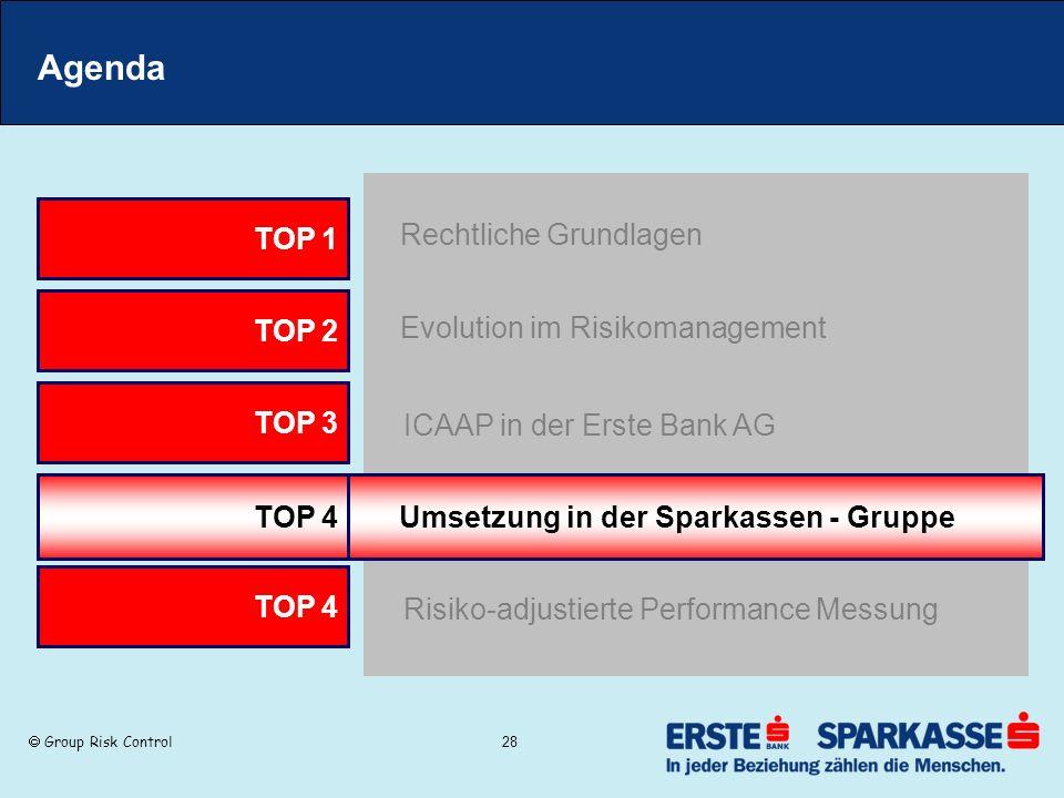 Group Risk Control 28 Agenda TOP 2 Evolution im Risikomanagement TOP 3 ICAAP in der Erste Bank AG TOP 1 Rechtliche Grundlagen TOP 4 Umsetzung in der S