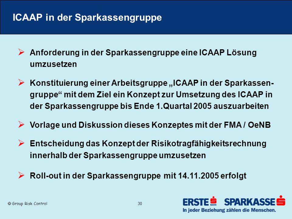 Group Risk Control 30 ICAAP in der Sparkassengruppe Anforderung in der Sparkassengruppe eine ICAAP Lösung umzusetzen Konstituierung einer Arbeitsgrupp