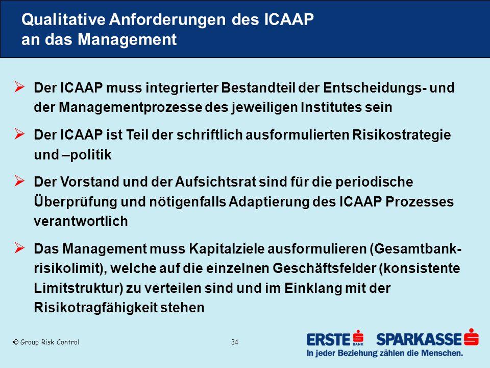 Group Risk Control 34 Qualitative Anforderungen des ICAAP an das Management Der ICAAP muss integrierter Bestandteil der Entscheidungs- und der Managem
