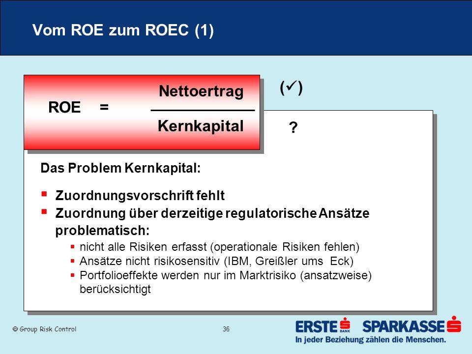 Group Risk Control 36 Vom ROE zum ROEC (1) ROE = Nettoertrag Kernkapital Zuordnungsvorschrift fehlt Zuordnung über derzeitige regulatorische Ansätze p
