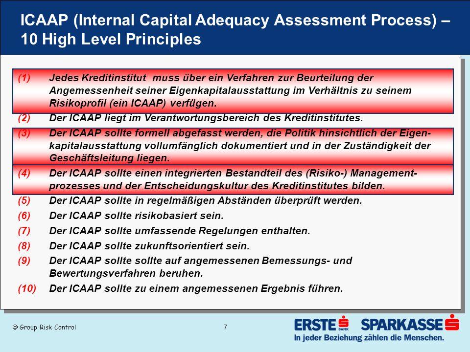 Group Risk Control 7 ICAAP (Internal Capital Adequacy Assessment Process) – 10 High Level Principles (1)Jedes Kreditinstitut muss über ein Verfahren z