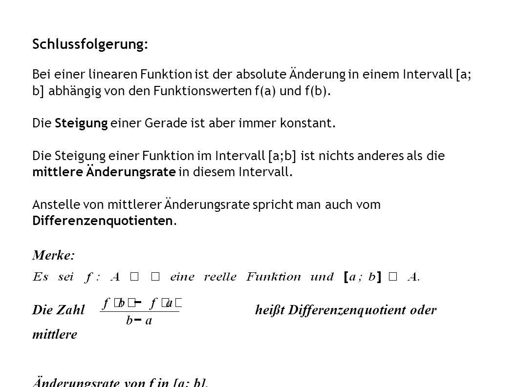 Schlussfolgerung: Bei einer linearen Funktion ist der absolute Änderung in einem Intervall [a; b] abhängig von den Funktionswerten f(a) und f(b). Die