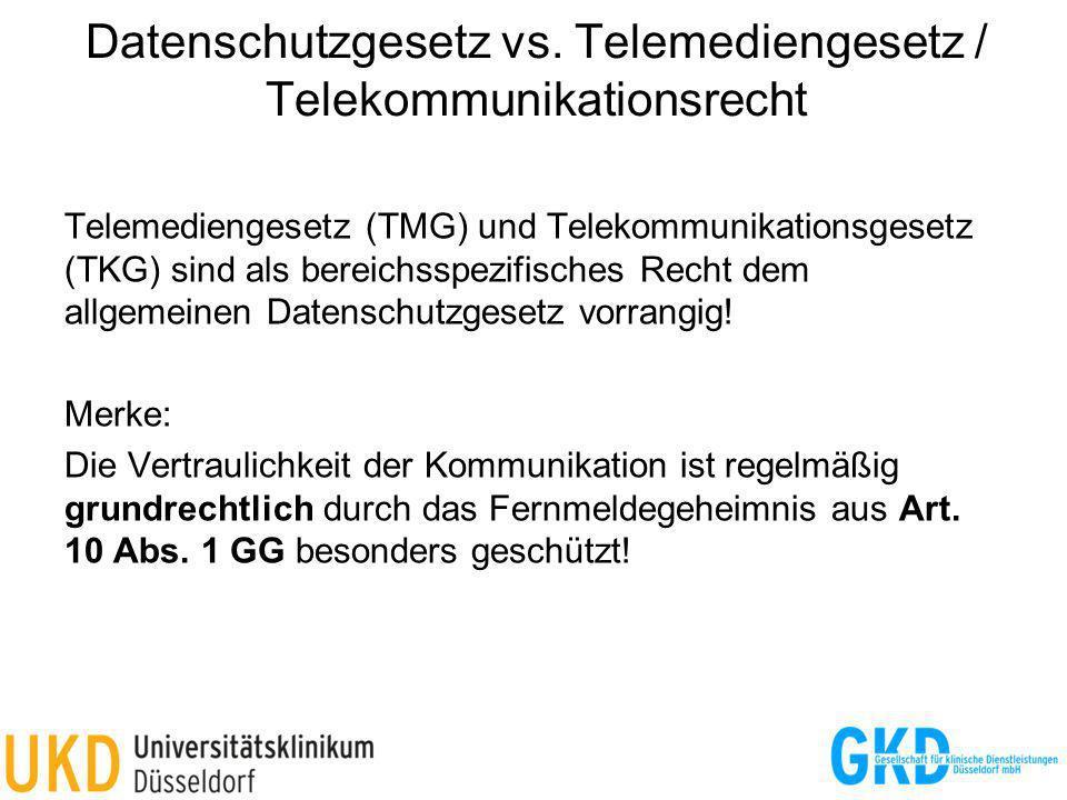 Datenschutzgesetz vs. Telemediengesetz / Telekommunikationsrecht Telemediengesetz (TMG) und Telekommunikationsgesetz (TKG) sind als bereichsspezifisch