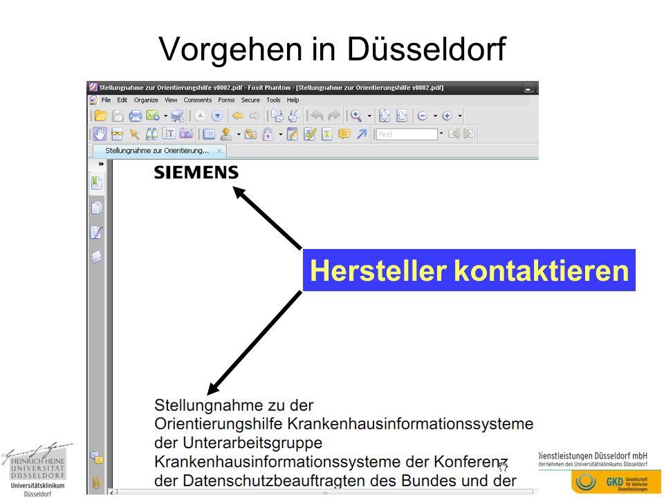 Vorgehen in Düsseldorf Hersteller kontaktieren