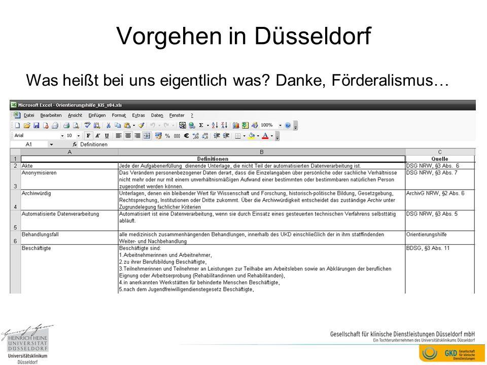 Vorgehen in Düsseldorf Was heißt bei uns eigentlich was? Danke, Förderalismus…