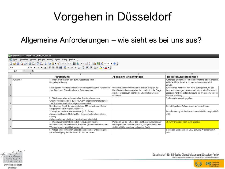 Vorgehen in Düsseldorf Allgemeine Anforderungen – wie sieht es bei uns aus?