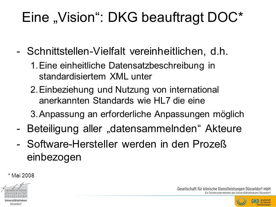 Eine Vision: DKG beauftragt DOC* -Schnittstellen-Vielfalt vereinheitlichen, d.h. 1.Eine einheitliche Datensatzbeschreibung in standardisiertem XML unt