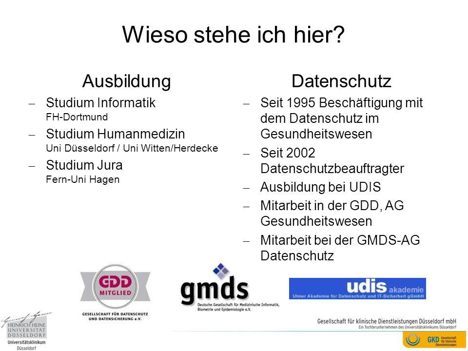 Wieso stehe ich hier? Ausbildung Studium Informatik FH-Dortmund Studium Humanmedizin Uni Düsseldorf / Uni Witten/Herdecke Studium Jura Fern-Uni Hagen