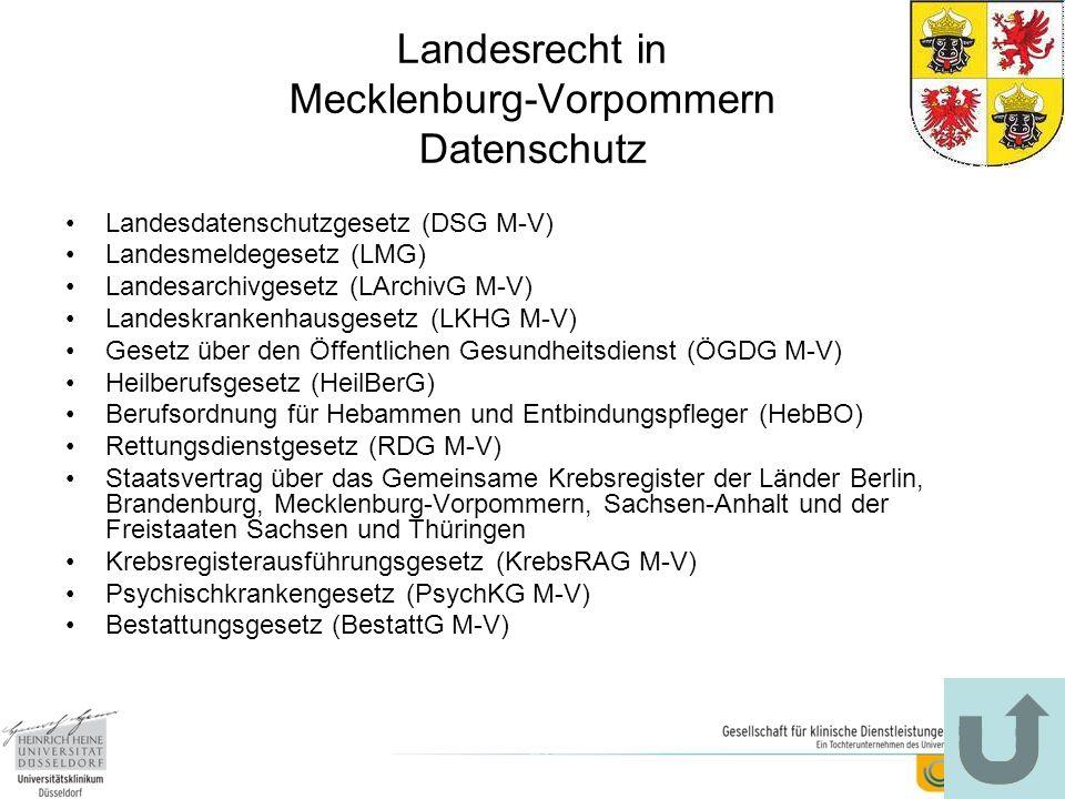 Landesrecht in Mecklenburg-Vorpommern Datenschutz Landesdatenschutzgesetz (DSG M-V) Landesmeldegesetz (LMG) Landesarchivgesetz (LArchivG M-V) Landeskr