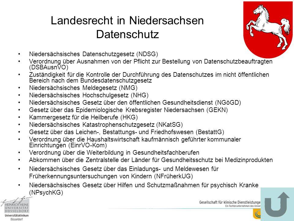 Landesrecht in Niedersachsen Datenschutz Niedersächsisches Datenschutzgesetz (NDSG) Verordnung über Ausnahmen von der Pflicht zur Bestellung von Daten