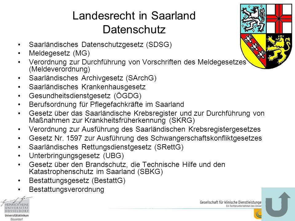 Landesrecht in Saarland Datenschutz Saarländisches Datenschutzgesetz (SDSG) Meldegesetz (MG) Verordnung zur Durchführung von Vorschriften des Meldeges
