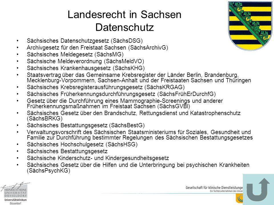 Landesrecht in Sachsen Datenschutz Sächsisches Datenschutzgesetz (SächsDSG) Archivgesetz für den Freistaat Sachsen (SächsArchivG) Sächsisches Meldeges