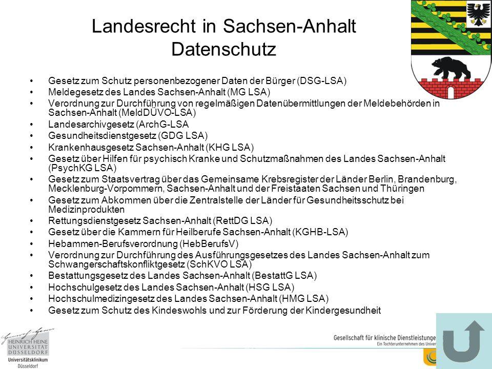 Landesrecht in Sachsen-Anhalt Datenschutz Gesetz zum Schutz personenbezogener Daten der Bürger (DSG-LSA) Meldegesetz des Landes Sachsen-Anhalt (MG LSA