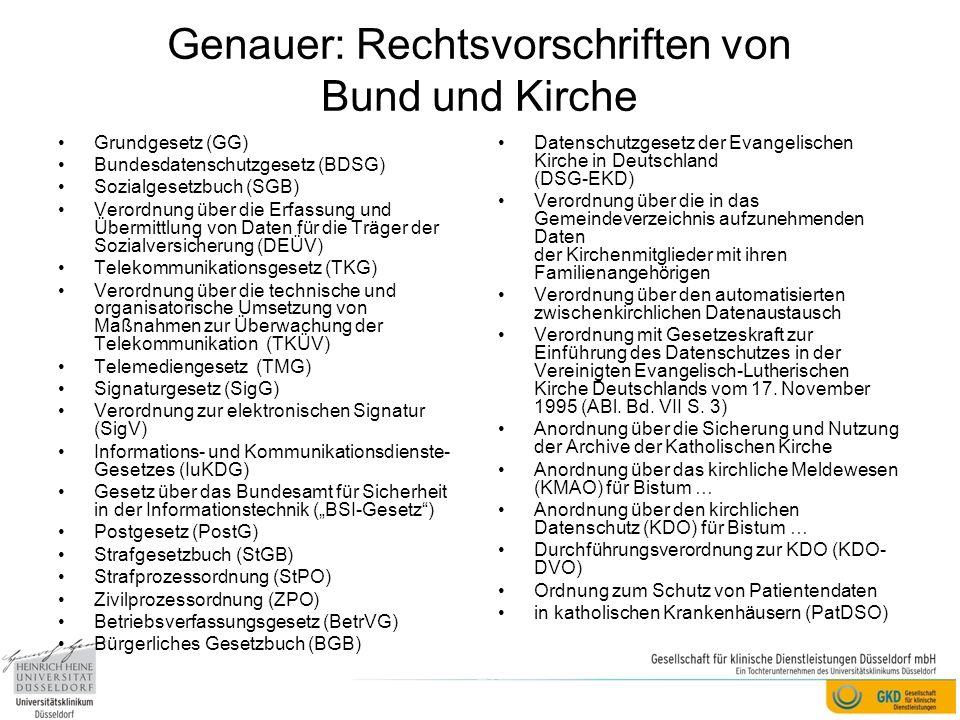 Genauer: Rechtsvorschriften von Bund und Kirche Grundgesetz (GG) Bundesdatenschutzgesetz (BDSG) Sozialgesetzbuch (SGB) Verordnung über die Erfassung u