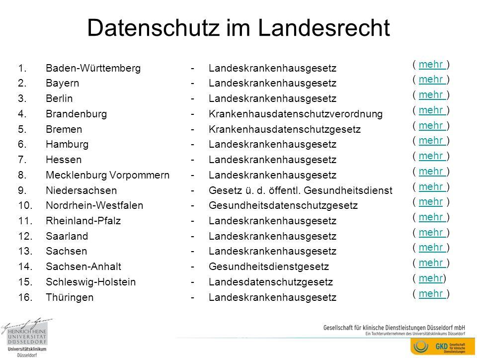 Datenschutz im Landesrecht 1.Baden-Württemberg 2.Bayern 3.Berlin 4.Brandenburg 5.Bremen 6.Hamburg 7.Hessen 8.Mecklenburg Vorpommern 9.Niedersachsen 10