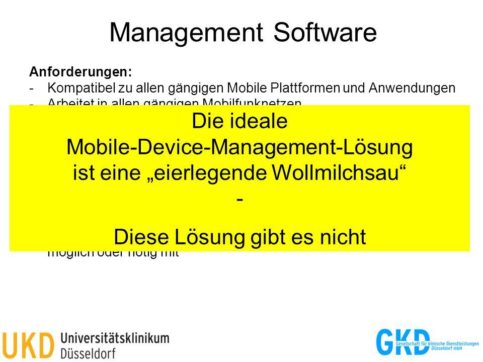 Management Software Anforderungen: -Kompatibel zu allen gängigen Mobile Plattformen und Anwendungen -Arbeitet in allen gängigen Mobilfunknetzen -Kann