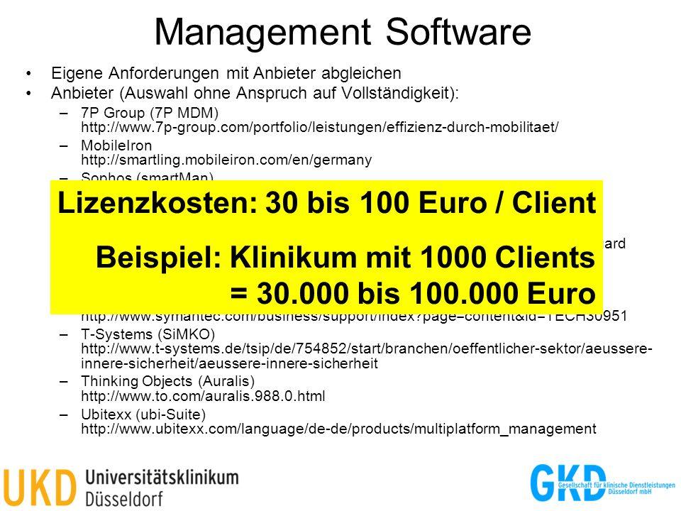 Management Software Eigene Anforderungen mit Anbieter abgleichen Anbieter (Auswahl ohne Anspruch auf Vollständigkeit): –7P Group (7P MDM) http://www.7