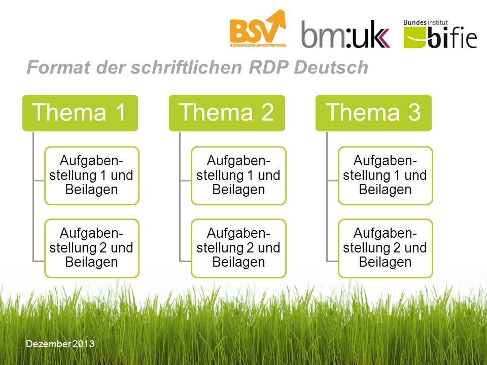 Dezember 2013 Format der schriftlichen RDP Deutsch Thema 1 Aufgaben- stellung 1 und Beilagen Aufgaben- stellung 2 und Beilagen Thema 2 Aufgaben- stell