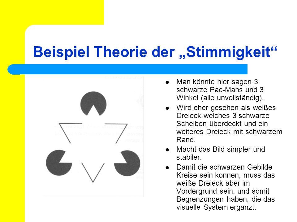 Beispiel Theorie der Stimmigkeit Man könnte hier sagen 3 schwarze Pac-Mans und 3 Winkel (alle unvollständig). Wird eher gesehen als weißes Dreieck wel